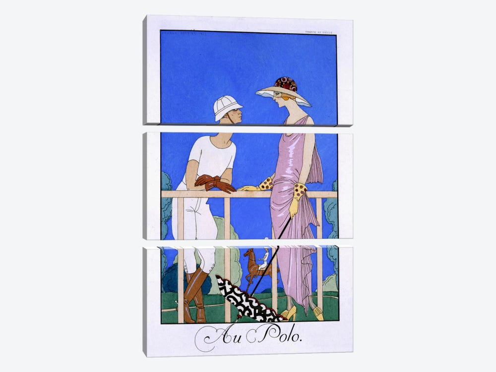 At Polo, 1920-29 (pochoir print) by George Barbier 3-piece Canvas Art Print