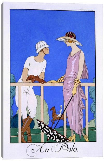 At Polo, 1920-29 (pochoir print) Canvas Art Print
