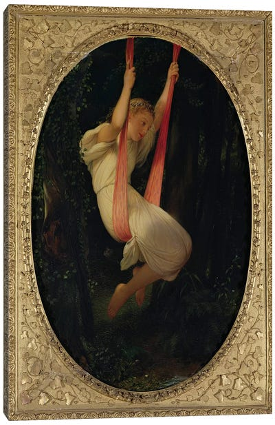 Young Girl on a Swing, 1845  Canvas Art Print