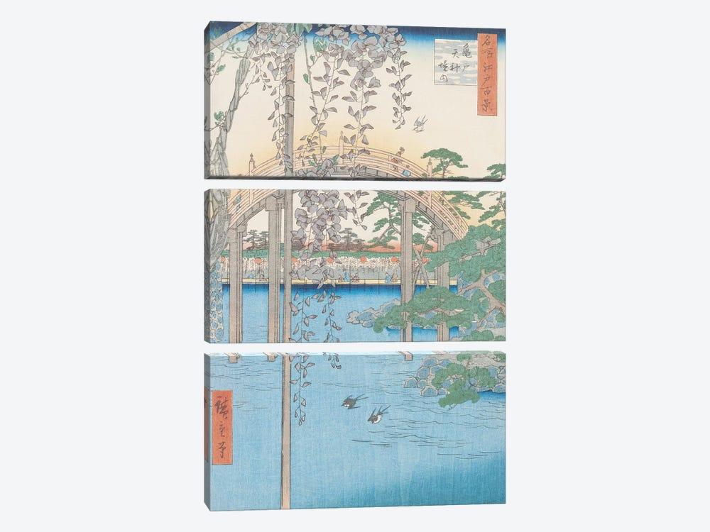 Kameido Tenjin keidai (Inside Kameido Tenjin Shrine) by Utagawa Hiroshige 3-piece Canvas Wall Art