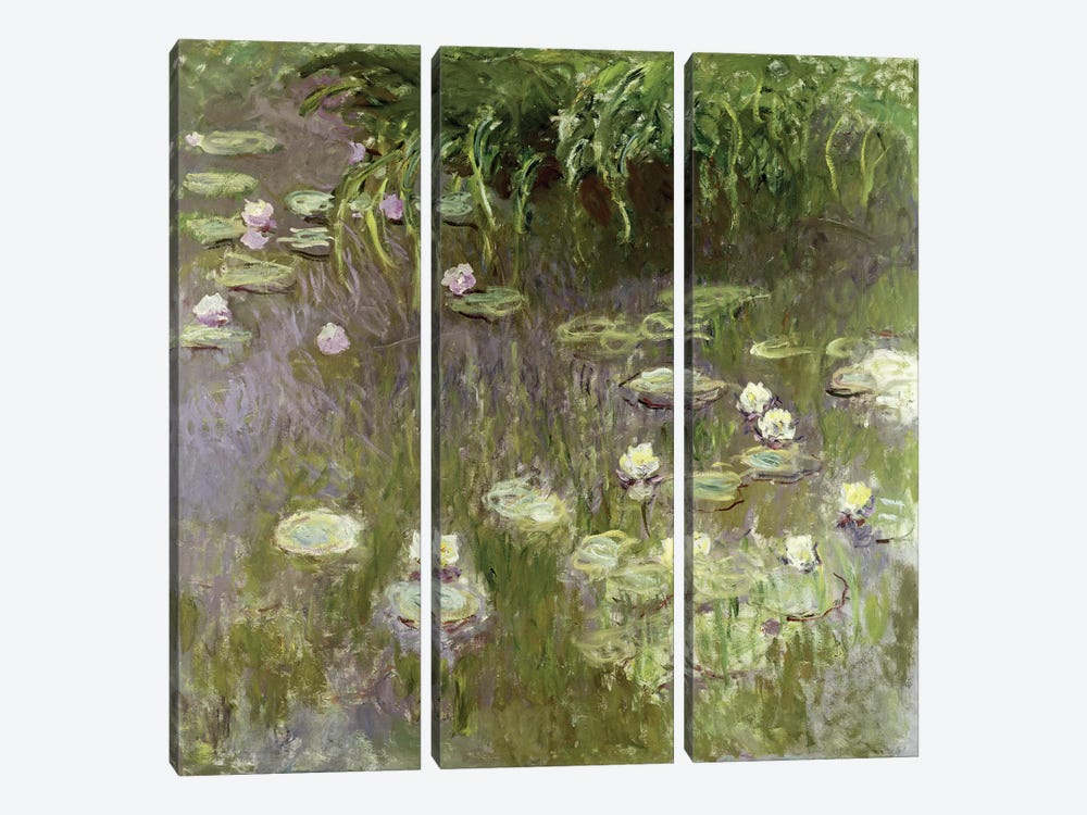 Waterlilies at Midday, 1918  by Claude Monet 3-piece Canvas Print