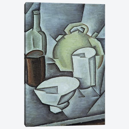Still Life with a Bottle of Wine and an Earthenware Water Jug, 1911  Canvas Print #BMN2610} by Juan Gris Art Print