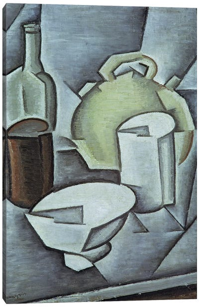 Still Life with a Bottle of Wine and an Earthenware Water Jug, 1911  Canvas Art Print