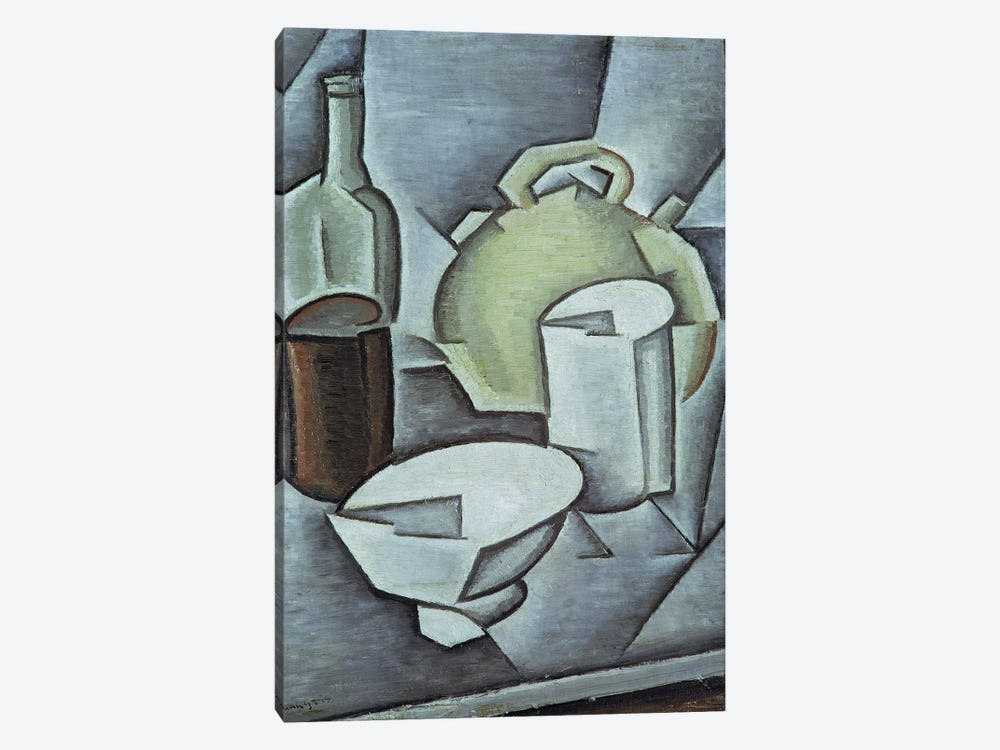 Still Life with a Bottle of Wine and an Earthenware Water Jug, 1911  by Juan Gris 1-piece Canvas Art