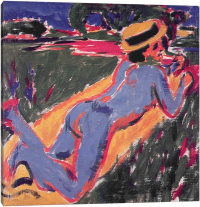 Blue Reclining Nude with a Straw Hat, 1908 Canvas Art Print