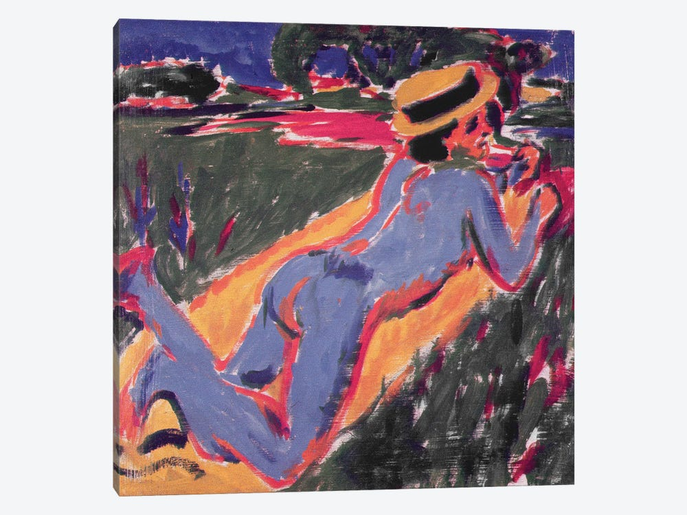Blue Reclining Nude with a Straw Hat, 1908 by Ernst Ludwig Kirchner 1-piece Canvas Art Print