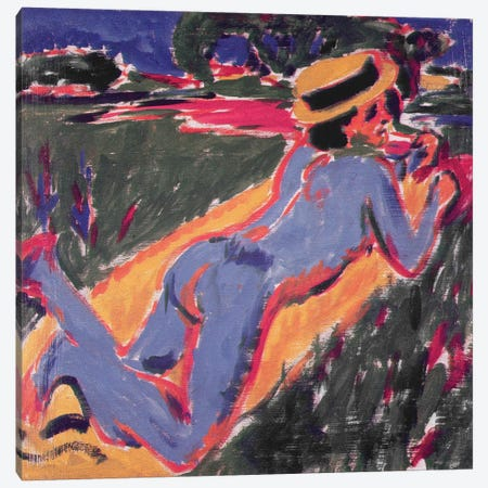 Blue Reclining Nude with a Straw Hat, 1908  Canvas Print #BMN2613} by Ernst Ludwig Kirchner Canvas Art Print
