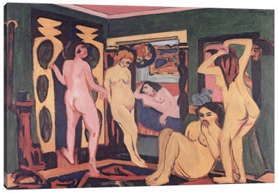 Bathers in a Room, 1908  Canvas Art Print