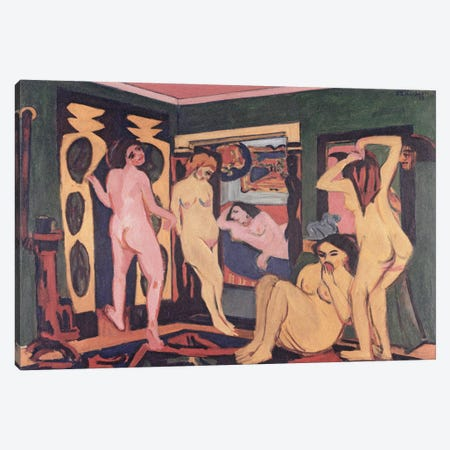 Bathers in a Room, 1908  Canvas Print #BMN2614} by Ernst Ludwig Kirchner Canvas Art