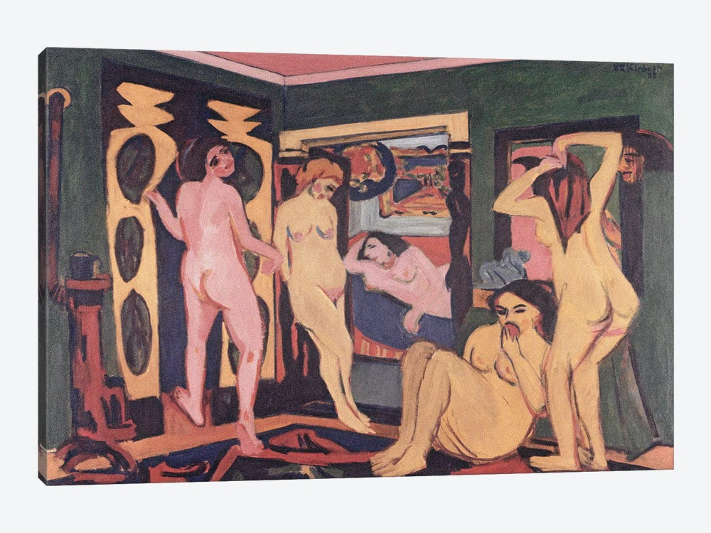 Bathers in a Room, 1908  by Ernst Ludwig Kirchner 1-piece Canvas Art