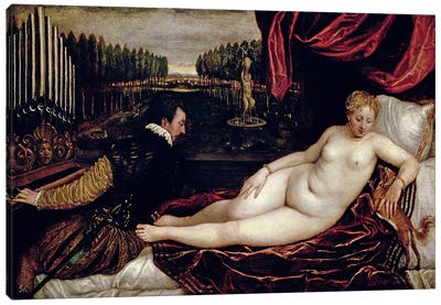 Venus and the Organist, c.1540-50  Canvas Art Print