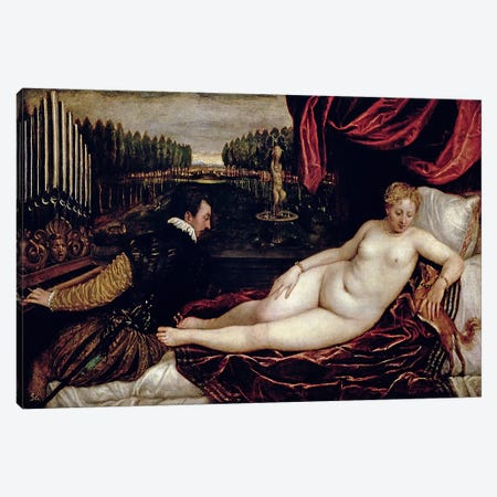 Venus and the Organist, c.1540-50  Canvas Print #BMN2624} by Titian Art Print