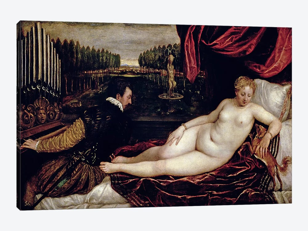 Venus and the Organist, c.1540-50  by Titian 1-piece Art Print