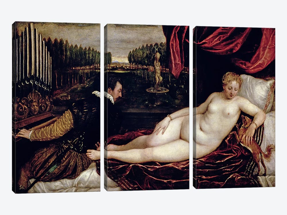 Venus and the Organist, c.1540-50  by Titian 3-piece Art Print