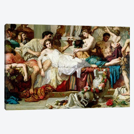 The Romans of the Decadence, detail of the central group, 1847   Canvas Print #BMN2631} by Thomas Couture Art Print