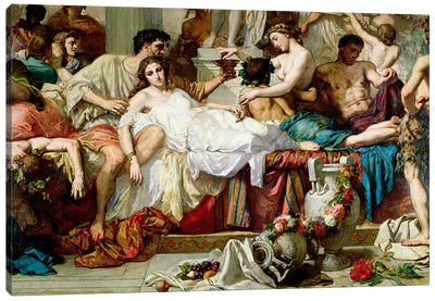The Romans of the Decadence, detail of the central group, 1847 Canvas Art Print