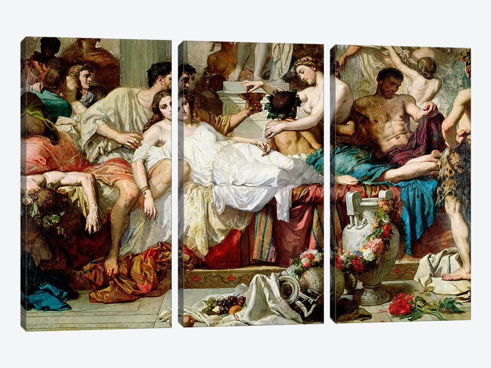 The Romans of the Decadence, detail of the central group, 1847   by Thomas Couture 3-piece Canvas Art Print