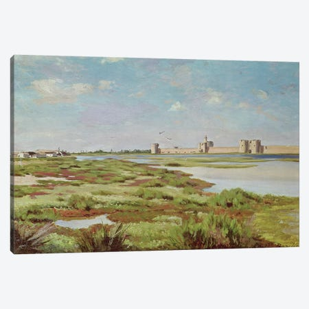 The City Walls of Aigues-Mortes, 1867  Canvas Print #BMN2636} by Jean Frederic Bazille Canvas Artwork