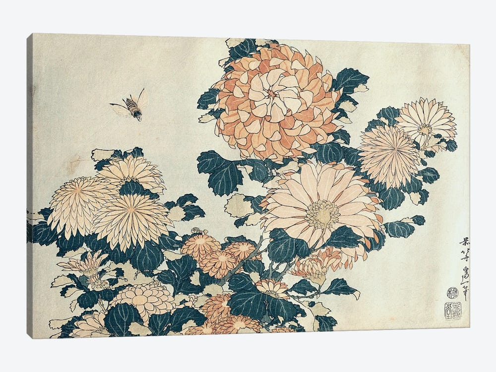 Chrysanthemums  by Katsushika Hokusai 1-piece Canvas Print