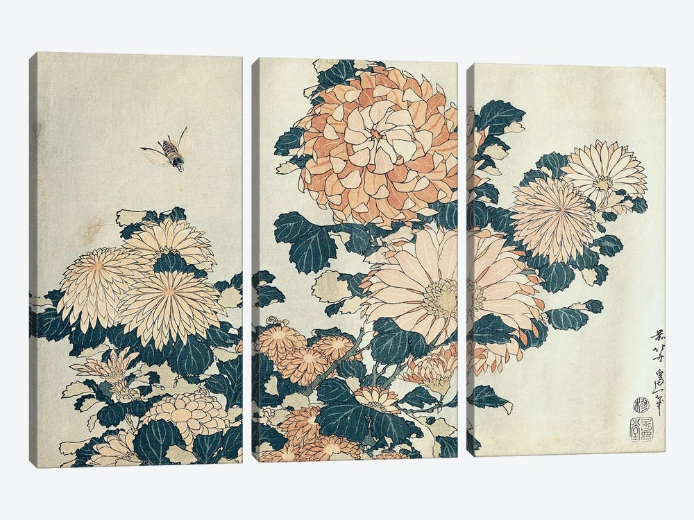 Chrysanthemums  by Katsushika Hokusai 3-piece Canvas Art Print