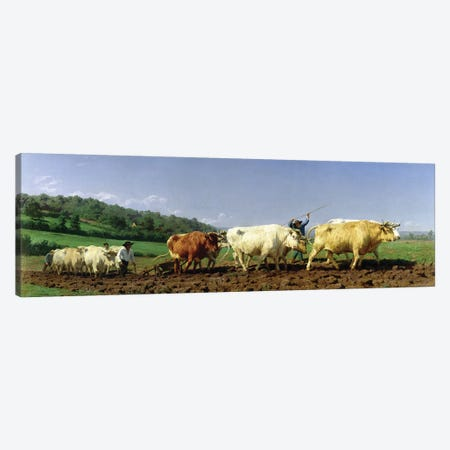 Ploughing In Nivernais, 1849 (Musee d'Orsay) Canvas Print #BMN2641} by Rosa Bonheur Canvas Wall Art