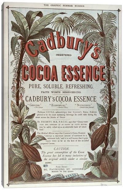 Advertisement for 'Cadbury's Cocoa Essence', from 'The Graphic', 1878  Canvas Art Print