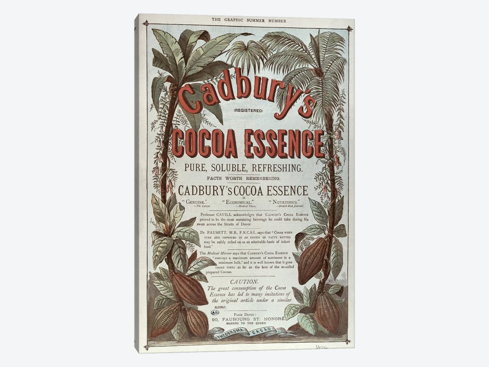 Advertisement for 'Cadbury's Cocoa Essence', from 'The Graphic', 1878 by English School 1-piece Canvas Artwork