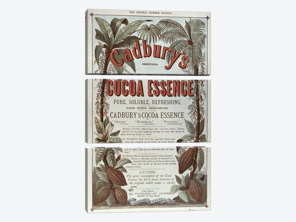 Advertisement for 'Cadbury's Cocoa Essence', from 'The Graphic', 1878 by English School 3-piece Canvas Wall Art