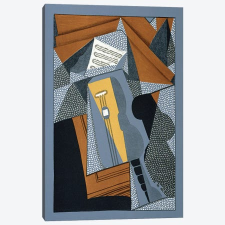 The Guitar, illustration for the poem 'Au soleil du plafond', by Pierre Reverdy  Canvas Print #BMN2650} by Juan Gris Art Print
