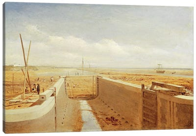 Canal under Construction, possibly the Bude Canal, c.1840  Canvas Art Print