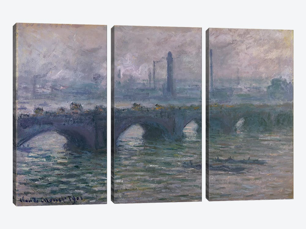 Waterloo Bridge, 1901 by Claude Monet 3-piece Canvas Print