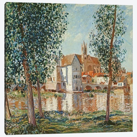 The Loing at Moret, September Morning  Canvas Print #BMN2660} by Alfred Sisley Canvas Wall Art