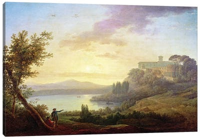 Italian Landscape, Setting Sun  Canvas Art Print