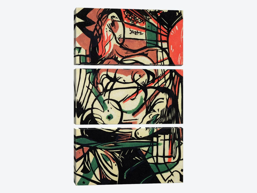 The Birth of the Horse, 1913  by Franz Marc 3-piece Canvas Print