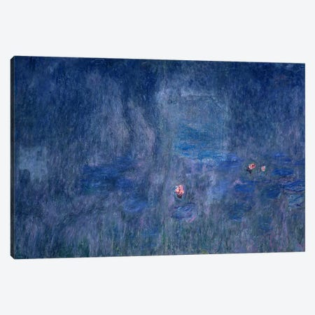Waterlilies: Reflections of Trees, detail from the central section, 1915-26  3-Piece Canvas #BMN2669} by Claude Monet Canvas Wall Art