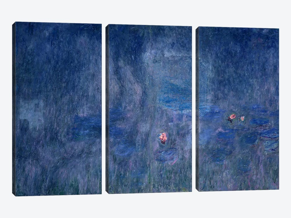 Waterlilies: Reflections of Trees, detail from the central section, 1915-26  by Claude Monet 3-piece Canvas Artwork