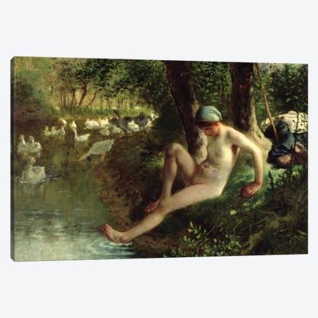 The Bather, 1863  Canvas Print #BMN2678} by Jean-Francois Millet Canvas Print