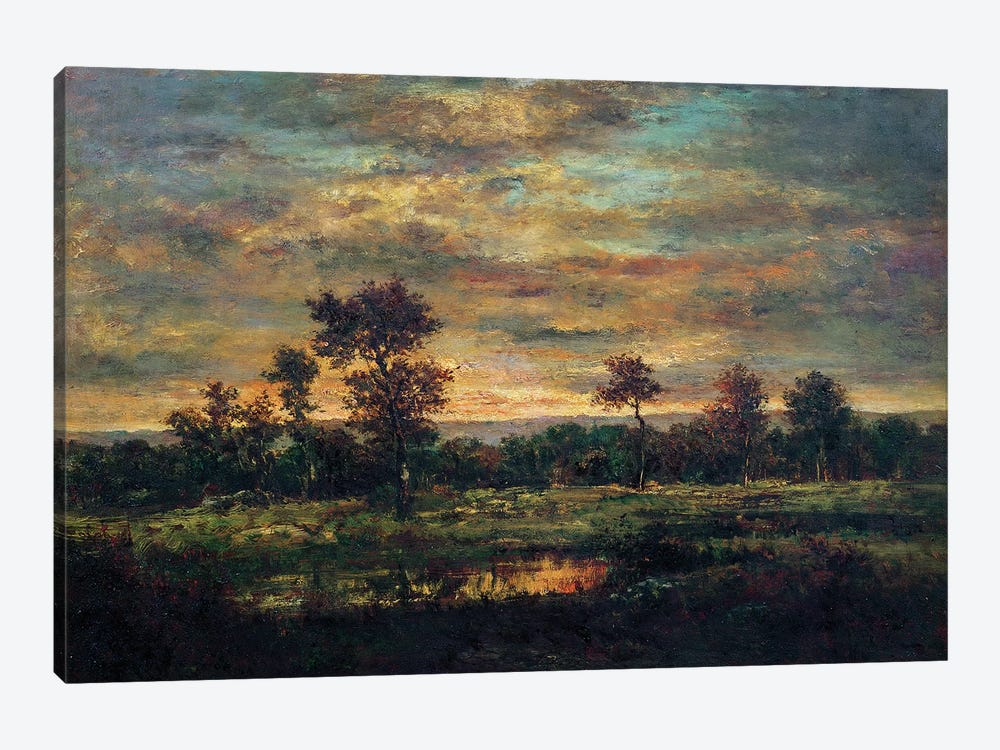 Pond at the Edge of a Wood  by Theodore Rousseau 1-piece Canvas Artwork
