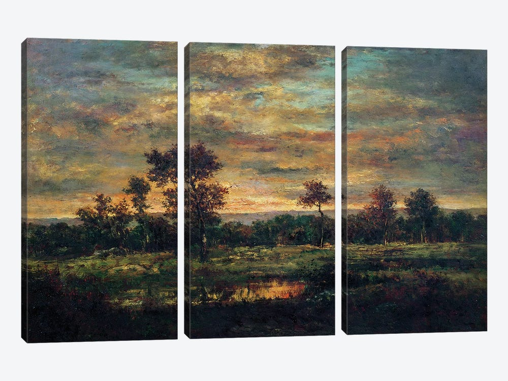 Pond at the Edge of a Wood  by Theodore Rousseau 3-piece Canvas Artwork