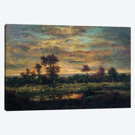 Pond at the Edge of a Wood  Canvas Print #BMN2681} by Theodore Rousseau Canvas Artwork