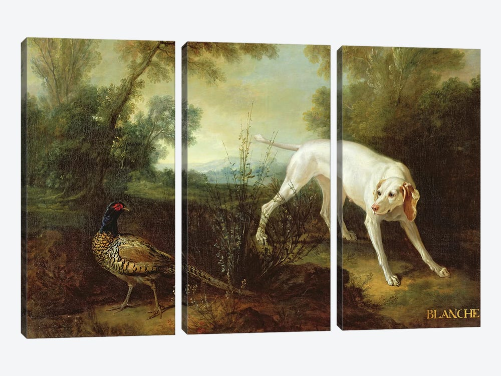 Blanche, Bitch of the Royal Hunting Pack  by Jean-Baptiste Oudry 3-piece Canvas Art Print