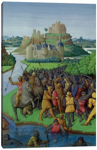 Ms Fr 247 fol.270 Battle between the Maccabees and the Bacchides, illustration from 'Antiquites Judaiques', c.1470  Canvas Art Print