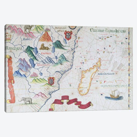 Madagascar and East African Coastline, detail from a world atlas, 1565  Canvas Print #BMN2686} by Diogo Homem Canvas Print