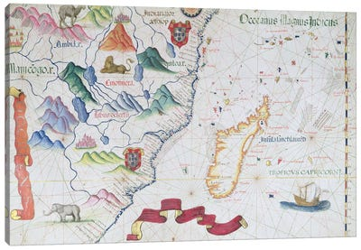 Madagascar and East African Coastline, detail from a world atlas, 1565  Canvas Art Print
