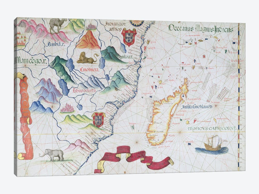 Madagascar and East African Coastline, detail from a world atlas, 1565  by Diogo Homem 1-piece Canvas Art Print