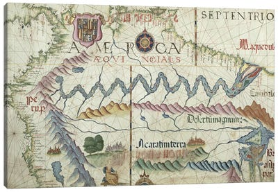 Northern South America, detail from a world atlas, 1565  Canvas Art Print