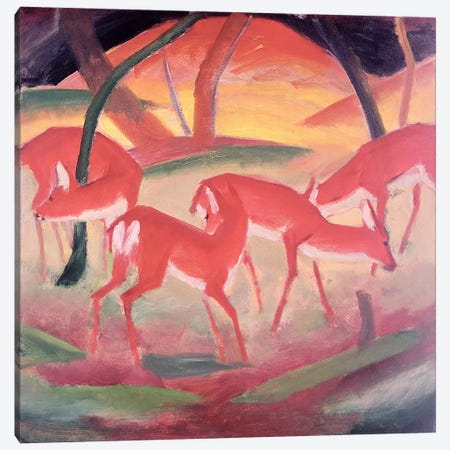 Deer  3-Piece Canvas #BMN2697} by Franz Marc Canvas Wall Art