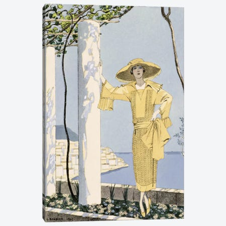 Amalfi, illustration of a woman in a yellow dress by Worth, 1922 (pochoir print) Canvas Print #BMN26} by George Barbier Art Print