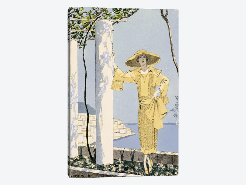 Amalfi, illustration of a woman in a yellow dress by Worth, 1922 (pochoir print) by Georges Barbier 1-piece Canvas Artwork