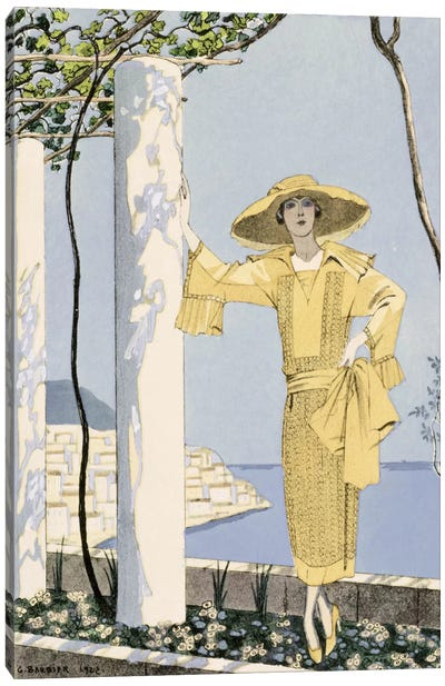 Amalfi, illustration of a woman in a yellow dress by Worth, 1922 (pochoir print) Canvas Art Print